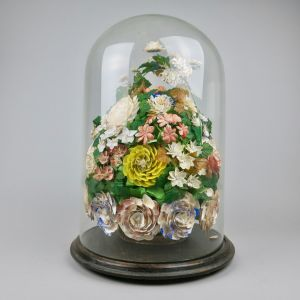Glass dome floral shellwork display
