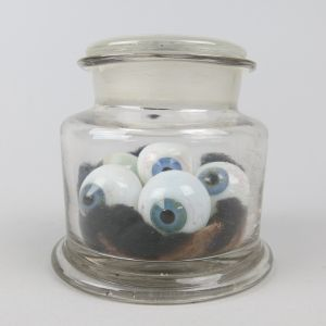 Glass eyes in jar
