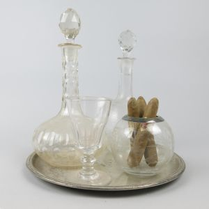 Antique glass decanters on tray etc