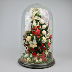 Glass dome floral woolwork display