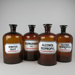 Large brown apothecary / chemist jars x 4